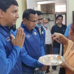 Mrs. Anjali Jangale blessing the team